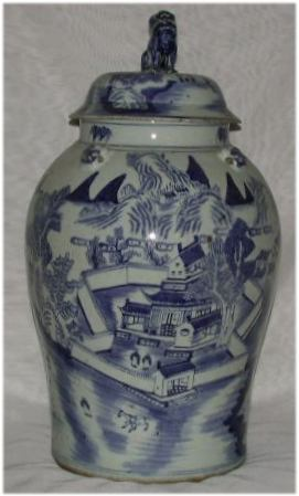 Antique Chinese Blue&White Vase With Lid
