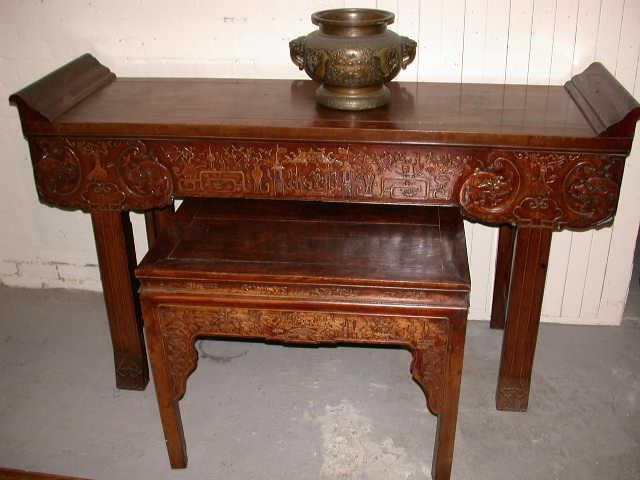 Antique Chinese Altar Table & Matching Square Table